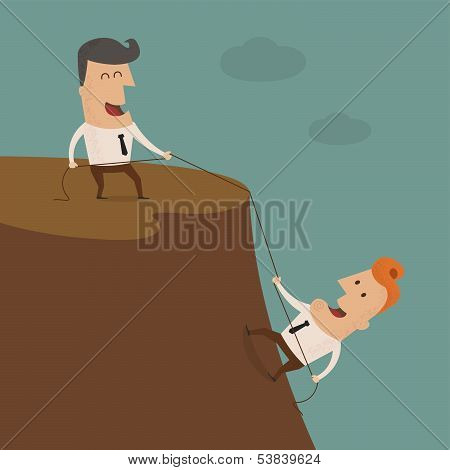 Businessman on the top of a rock helping an other businessman to climb ,Vector EPS 10