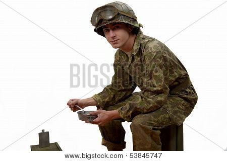 Young American Soldier Takes His Meals