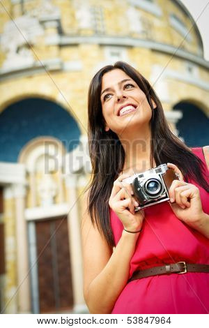Woman Taking Photos In Europe