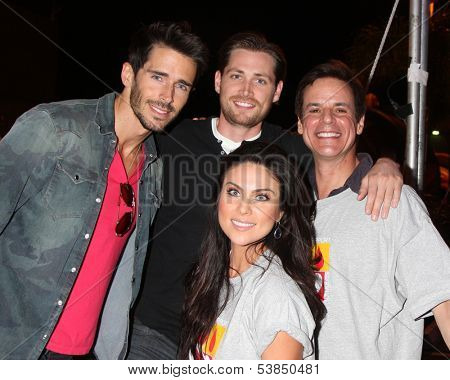 LOS ANGELES - OCT 6:  Brandon Beemer, Zack Conroy, Nadia Bjorlin, Christian LeBlanc at the Light The Night The Walk to benefit LLS at Sunset-Gower Studios on October 6, 2013 in Los Angeles, CA