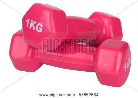 two pink dumbbells to 1 kilogram isolated on white background