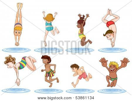 Illustration of the different kids enjoying the water on a white background