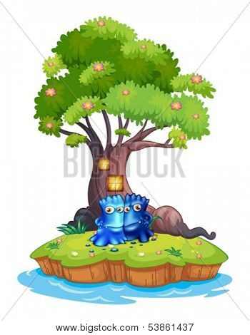 Illustration of the two monsters near the tree house in the island on a white background