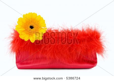 Vintage Red Silk Bag With Feathers And Flower