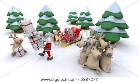 3d render of santa claus and gifts poster