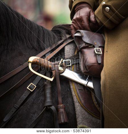 Close-up harness and saber at Polish cavalry.