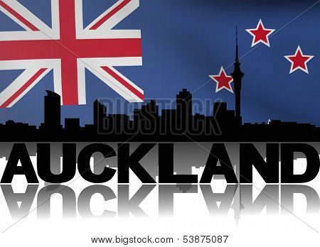 Auckland skyline and text reflected with rippled New Zealand flag illustration