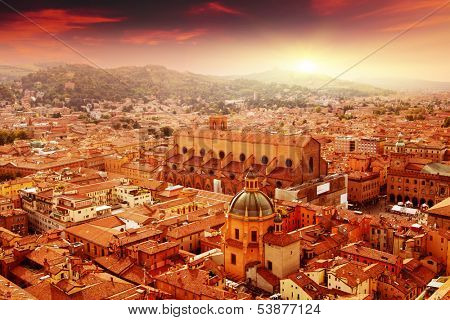 Aerial view of Bologna at sunset. Italy.