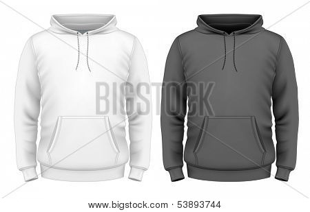 Photo-realistic vector illustration. Men's hoodie design template (front view). Illustration contains gradient mesh.