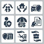 Vector insurance icons set: family insurance home insuranceauto insurance life insurance deposit insurance insurance policy insurance of goods travel insurance business risk insurance poster