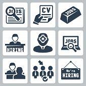 Vector job hunting job search human resources icons set poster