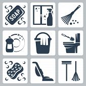 Vector cleaning icons set: soap window cleaner duster dishwashing liquid bucket and cloth toilet brush and flush toilet sponge vacuum cleaner mop poster