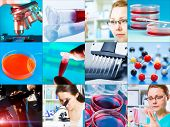 scientific design elements Collage - microbiology, genetics, scientists poster