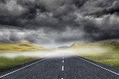 Stormy landscape background with street poster