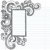 Rectangle Picture Frame Border Back to School Sketchy Notebook Doodles- Illustration Design Element on Lined Sketchbook Paper Background poster