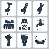 Vector plumbing icons set: plunger adjustable wrench spanner ball plumber faucet washbasin toilet bowl bathtub poster