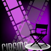Abstract colorful background with two filmstrips, a movie director chair and the word cinema written bellow with capital letters poster