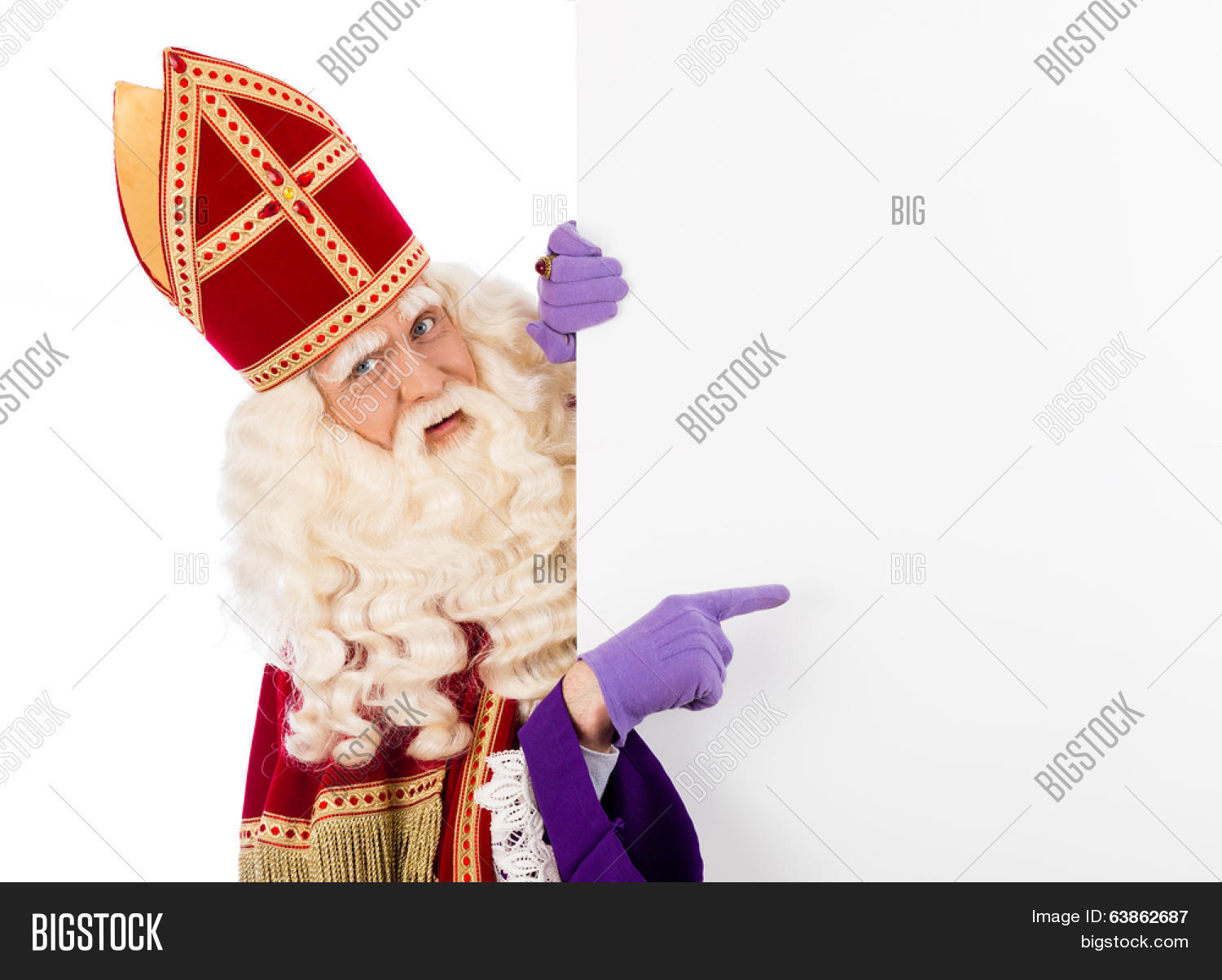 c489c0a55f56e Sinterklaas with placard. isolated on white background. Dutch character of  Santa Claus