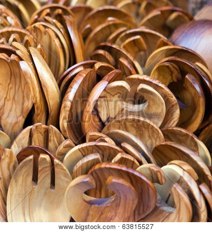 Salad spoons and forks made of olive wood on sale as tourist mementoes in Greece