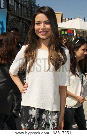 LOS ANGELES - APR 11:  Miranda Cosgrove at the Despicable Me Minion Mayhem  and Super Silly Fun Land at Universal Studios Hollywood on April 11, 2014 in Universal City, CA