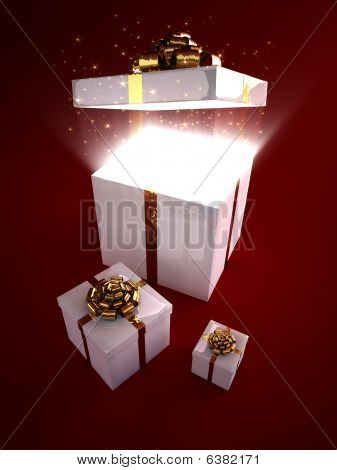 Open Gift Box With Magic Inside
