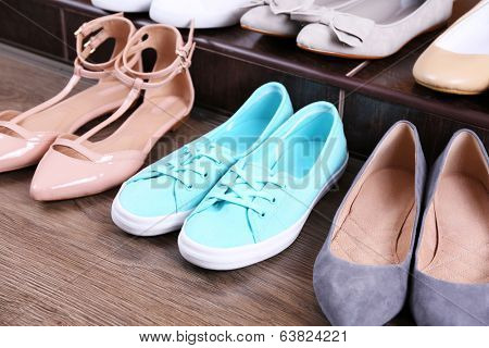 Different shoes on floor
