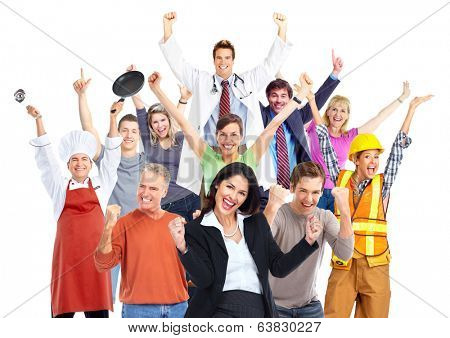 Group of happy workers people isolated on white background.
