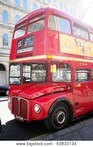 LONDON, UK - APRIL 16, 2014: Some of the original old Routemaster double-decker buses are still operating.