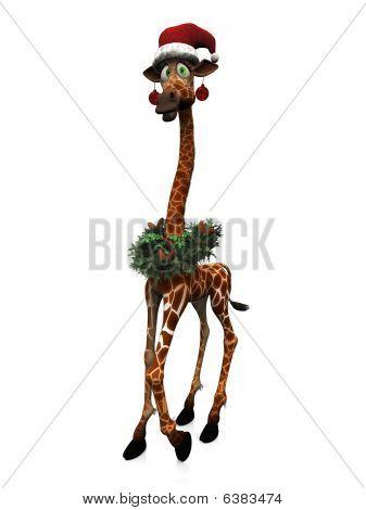 Cartoon Giraffe Wearing Santa Hat And Other Christmas Decorations.