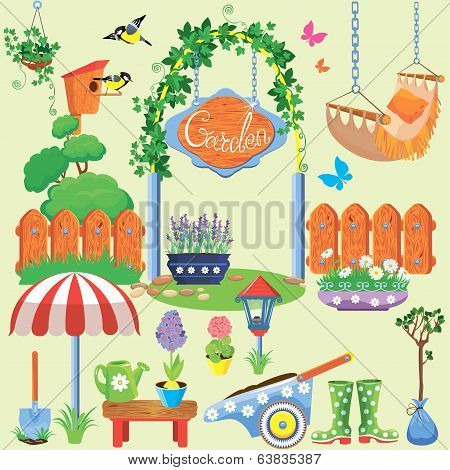 Spring And Summer Village And Garden Set With Flowers, Agriculture Tools And Equpment
