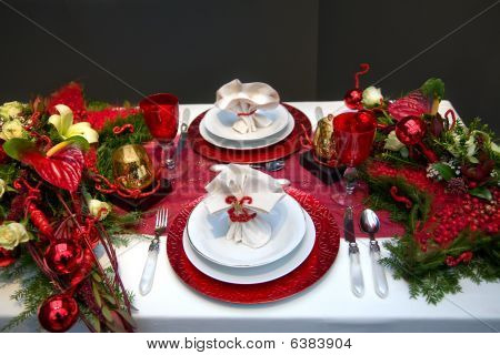 Decoration On Christmas Table