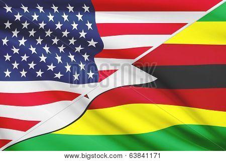 Series Of Ruffled Flags. Usa And Republic Of Zimbabwe