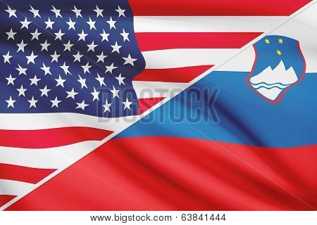 Series Of Ruffled Flags. Usa And Republic Of Slovenia.