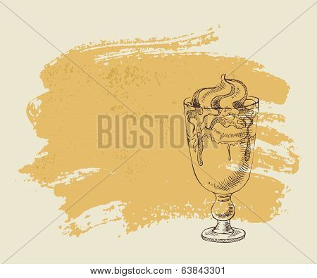 Ice cream with coffee cocktail on grunge background.