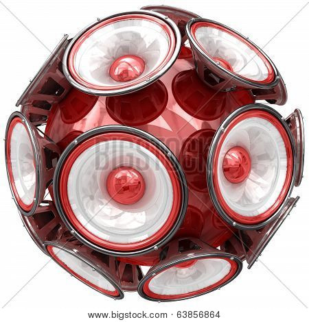Audio speakers sphere isolated on white