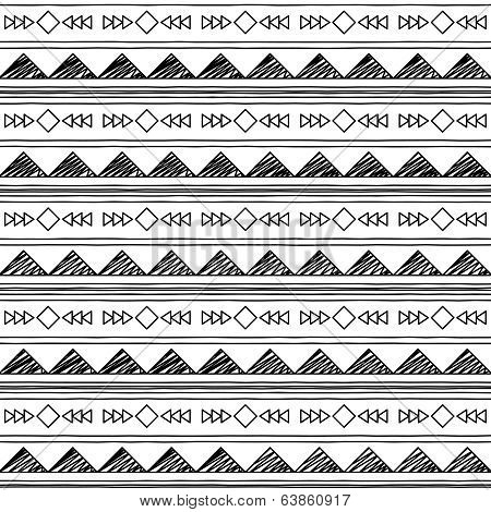 Black and White Doodle Style Seamless Tileable Tribal Pattern