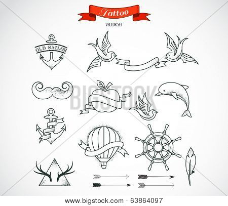 Set of modern black and white Tattoo Art elements - vector design