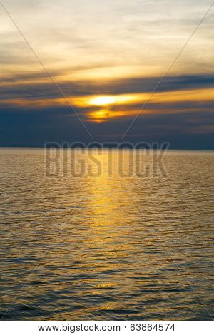 Sunshine view sky with reflection at water poster