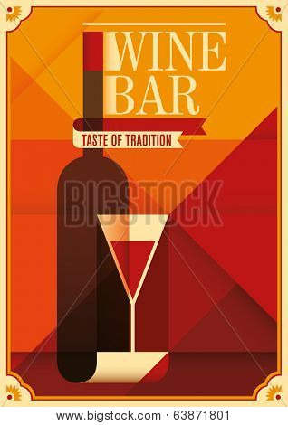 Retro wine bar poster. Vector illustration.