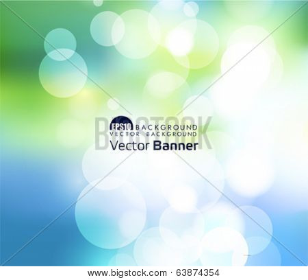 Green bright bokeh background. Eps 10 file with transparencies and drop shadow(banner).All elements are separate, easily editable in separate layers. Vector illustration scale to any size.