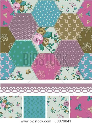 Pretty Vector Patchwork Floral Seamless Patterns and Elements. Use as fills or print off onto fabric to create unique items.