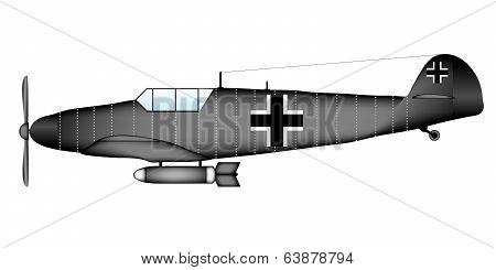 German WW2 fighter Messerschmitt Bf.109G on white background - vector illustration. poster