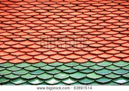Roof texture in Wat Phra Keaw, Thailand