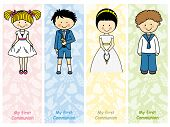 set First Communion. Card Communion boy and girl poster