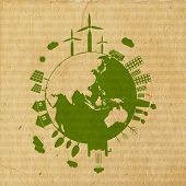 World Environment Day concept with illustration of urban city and rural town on mother earth globe on grungy brown background.  poster