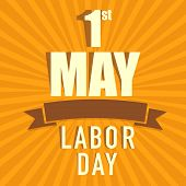 Vintage poster, banner or flyer design with stylish text 1st May Labor Day on orange background. poster