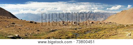 Panoramic view from Ladakh Range to Stok Kangri Range - Ladakh - Jammu and Kashmir - India poster