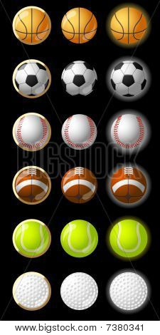 Balls for 6 different sports in 3 different styles