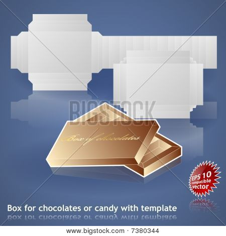 Box for chocolates or candy with printing template