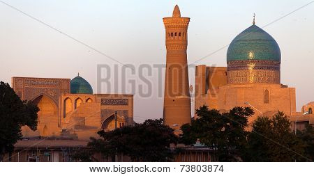 Evening view of Kalon mosque and minaret - Bukhara - Uzbekistan poster